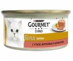 Консервы Gourmet (Гурме) Gold Для Кошек Утка с Морковью и Шпинатом По-Французски Кусочки в Паштете 85г (1*24)