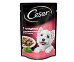 Влажный Корм Cesar (Цезарь) Для Взрослых Собак Мелких Пород с Говядиной, Кроликом и Шпинатом (Пауч) 100г