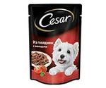 Влажный Корм Cesar (Цезарь) Для Взрослых Собак Мелких Пород Говядина с Овощами (Пауч) 100г (1*24)