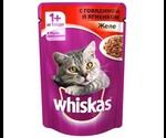 Влажный Корм Whiskas (Вискас) Для Кошек Говядина с Ягненком в Желе 85г (1*24)