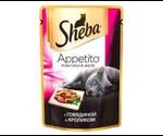 Влажный Корм Sheba (Шеба) Appetito Для Кошек Говядина с Кроликом в Желе 85г (1*24)