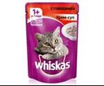 Влажный Корм Whiskas (Вискас) Для Кошек Крем-Суп Говядина 85г (1*24)
