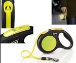 Рулетка Для Собак Мелких Пород Flexi (Флекси) Ремень S 5м До 15кг Ремень Черный/Неон Neon Safety Plus