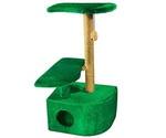 Домик Когтеточка Угловая Для Кошек 3-Х Уровневый Зеленый 36*49*96см Rp8102дз
