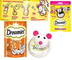 Лакомство Для Кошек Dreamies (Дримс) Подушечки Курица 30г + Игрушка Для Лакомств Мышка