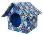 Дом Для Кошек и Собак Мелких Пород Изба На Молнии Поплин Оригами 44*40*44см №2 Лазурный ZooExpress 760524